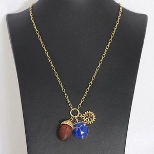 Tory Burch Ladybug Wooden Pine Cone Necklace